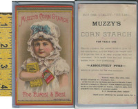 Victorian Card, 1890's, Muzzy Starch, Elkhart IN, Girl Holds Boxes