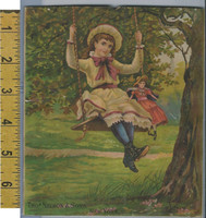 Victorian Card, 1890's, Nelson & Sons, New York, Girl Swinging With Doll