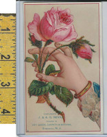 Victorian Card, 1890's, Nevius Dry Goods, Somerville NY, Hand Roses