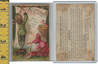 Victorian Card, 1890's, New Haven Ruffle, Conn., Children Posting Sign