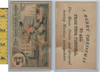 Victorian Card, 1890's, New Home Sewing, Pennell, Boy Runs Dogs