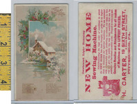 Victorian Card, 1890's, New Home Sewing, Carter, Pittsburgh PA, Cabin