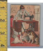 Victorian Card, 1890's, New Home Sewing, Mother Sewing, Child, Dog