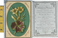 Victorian Card, 1890's, Purssell Bakery, Broadway New York, Flowers