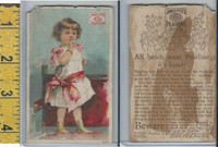 Victorian Card, 1890's, Pyles Pearline Soap, New York, Girl on Chair