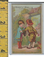 Victorian Card, 1890's, Reward of Merit, Two Boys With Hats