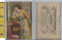 Victorian Card, 1890's, Reynolds Brothers Shoes, Utica NY, Girl Yellow Dress