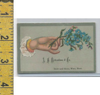 Victorian Card, 1890's, Richardson Shoes, Ware MA, Hand & Blue Flowers