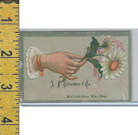 Victorian Card, 1890's, Richardson Shoes, Ware MA, Hand & White Flowers