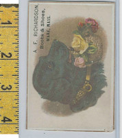 Victorian Card, 1890's, Richardson Shoes, Ware MA, Dog & Yellow Flowers