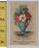 Victorian Card, 1890's, Russell Dry Goods, Jersey City, Flower Vase