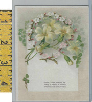 Victorian Card, 1890's, Sarcia Coffee, Yellow & White Flowers