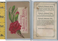 Victorian Card, 1890's, Scheneck's Seaweed Tonic, Red Flower