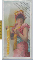 Victorian Card, 1890's, Seifried Dry Goods, Kansas City MO, Girl Red Dress