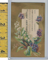 Victorian Card, 1890's, Sellers Bros Printers, Lawrence MA, Flowers