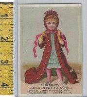 Victorian Card, 1890's, Shaw Tailor, Lock Haven PA, Girl (A)