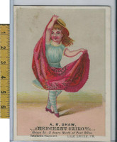 Victorian Card, 1890's, Shaw Tailor, Lock Haven PA, Girl (B)