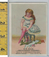 Victorian Card, 1890's, Shaw Tailor, Lock Haven PA, Girl (D)