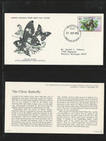 Mauritius Collection of World Wildlife Covers, #469-472, Butterfly, Bird, Bat
