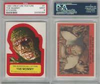 1980 Universal, Creature Feature Stickers, #1 The Mummy, PSA 9 Mint