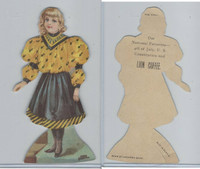 K33 Lion Coffee, Die Cut Design, Doll House, 1890, Hall, #12 Girl Yellow Dress