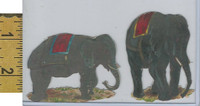 Victorian Card, 1890's, Animals Diecut, Circus Elephants (A6)