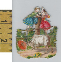 Victorian Card, 1890's, Animals Diecut, Goat, Girls in Tree (A7)