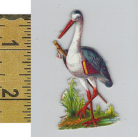 Victorian Card, 1890's, Animals Diecut, Bird With Sword (A10)
