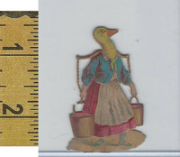 Victorian Card, 1890's, Animals Diecut, Goose Wearing Dress (A15)