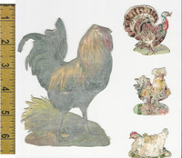 Victorian Card, 1890's, Animals Diecut, Chicken, Rooster, Turkey (A21)