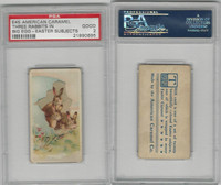 E45 American Caramel, Easter Subjects, 1920's, 3 Rabbits In Big Egg, PSA 2 Good