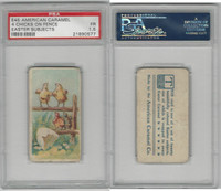 E45 American Caramel, Easter Subjects, 1920's, 4 Chicks On Fence, PSA 1.5 Fair