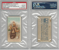 E45 American Caramel, Easter Subjects, 1920's, Six Chicks Around Shoe, PSA 2 MC