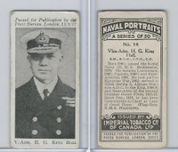 C23 Imperial Tobacco, Naval Portraits, 1915, #14 HG King Hall