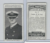 C23 Imperial Tobacco, Naval Portraits, 1915, #17 Captain WR Hall