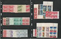United States Stamp Collection, Mint NH Airmail Plate Blocks, 4 Pages