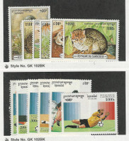 Cambodia, Postage Stamp, #1491-6 Mint LH, 1497-1502 NH, Soccer, Animals