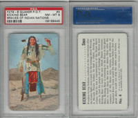 F279-8 Quaker, Braves of Indian Nations, 1956, #4 Kicking Bear, PSA 8 NMMT