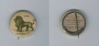 1896 PE7-1 American Pepsin Gum, Animals Pin Back, Lion, ZQL