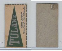F Card ,1940's Quaker, College Pennants, Tulane University, Green Wave