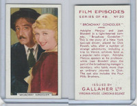 G12-84 Gallaher, Film Episodes, 1936, #20 Broadway Gondolier, Menjou, Blondell
