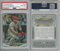 2018 Bowman Chrome Baseball, #HB Harrison Bader RC, Cardinals, PSA 10 Gem