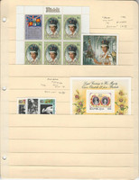 Aitutaki & Barbuda Stamp Collection 1986 #392-3 Mint NH, #779-82 LH Queen