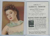 D57 Mother's Cookies, Movie Star Trading Cards, 1953, #11 Claudette Thornton