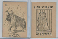 K Card Lion Coffee, Old Maid Card Game Animals, 1890, #5 Hyena