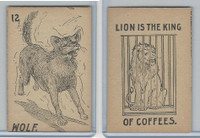 K Card Lion Coffee, Old Maid Card Game Animals, 1890, #12 Wolf