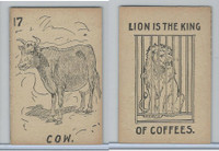 K Card Lion Coffee, Old Maid Card Game Animals, 1890, #17 Cow