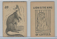 K Card Lion Coffee, Old Maid Card Game Animals, 1890, #20 Kangaroo