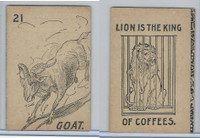 K Card Lion Coffee, Old Maid Card Game Animals, 1890, #21 Goat