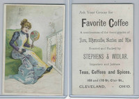 K Card, Favorite Coffee, 1890's, Girl With Mirror